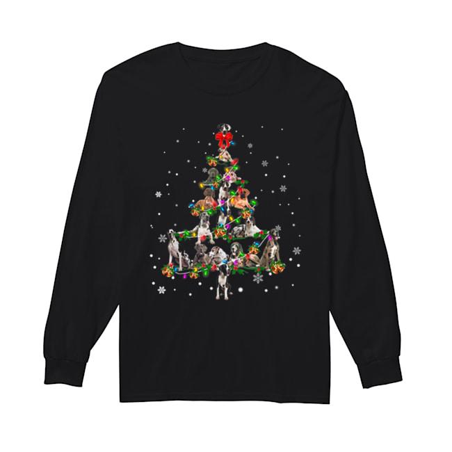 Great Dane dog Christmas Tree gift decor Xmas tree  Long Sleeved T-shirt