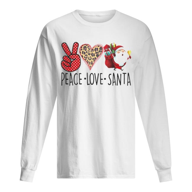 Hippie Peace Love Santa Claus Christmas  Long Sleeved T-shirt