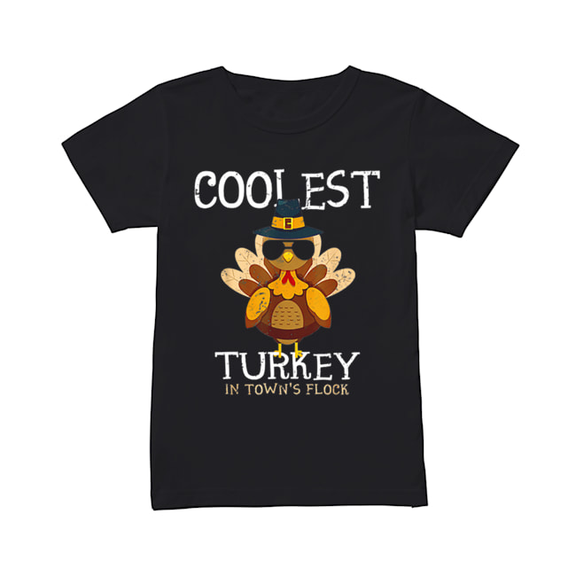 Hot Kids Coolest Turkey In The Town's Flock Thanksgiving boys  Classic Women's T-shirt
