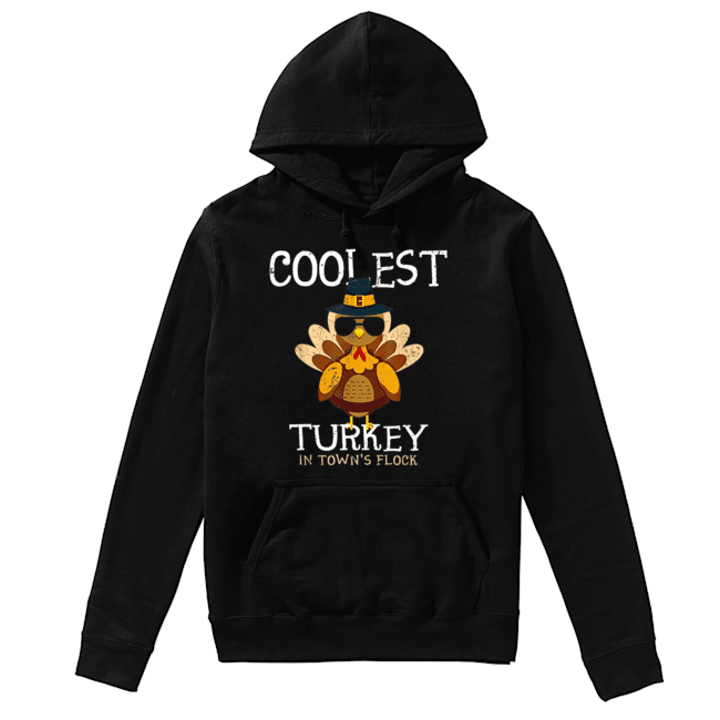 Hot Kids Coolest Turkey In The Town's Flock Thanksgiving boys  Unisex Hoodie