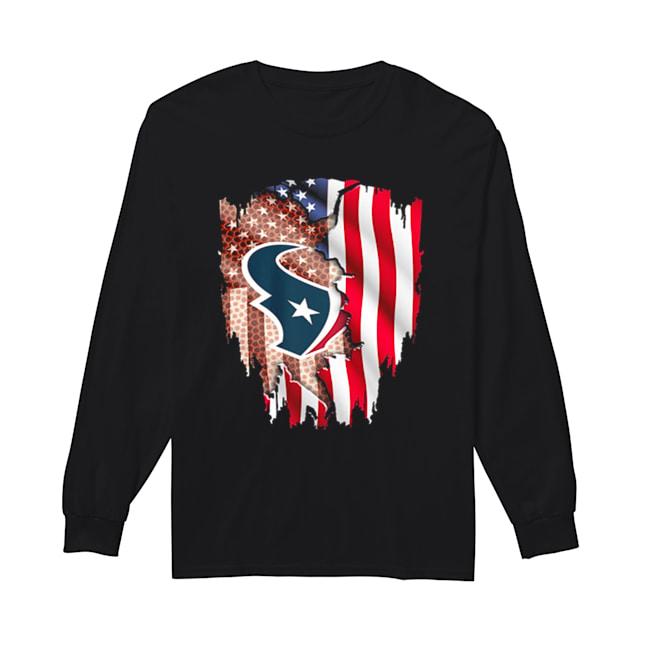 Houston Texans American flag  Long Sleeved T-shirt