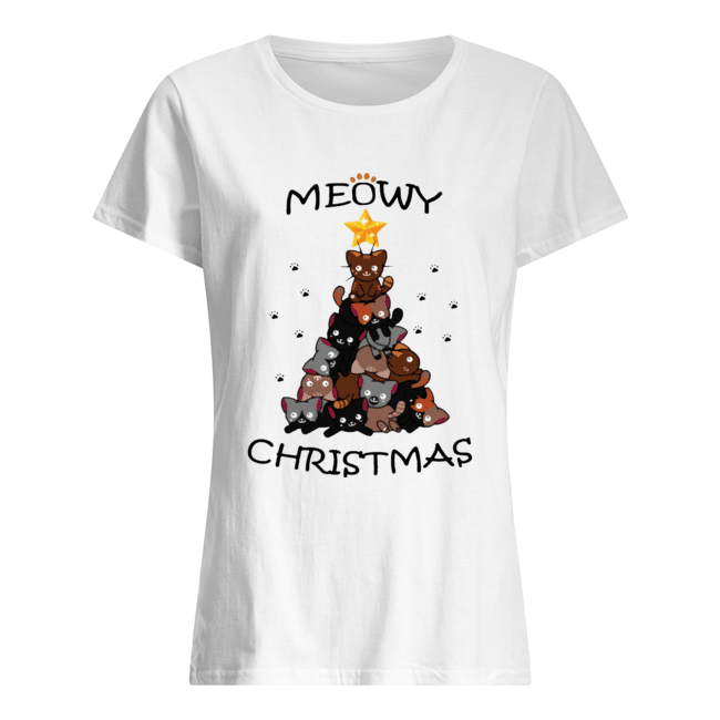 Meowy Christmas Tree Cute Merry Xmas  Classic Women's T-shirt
