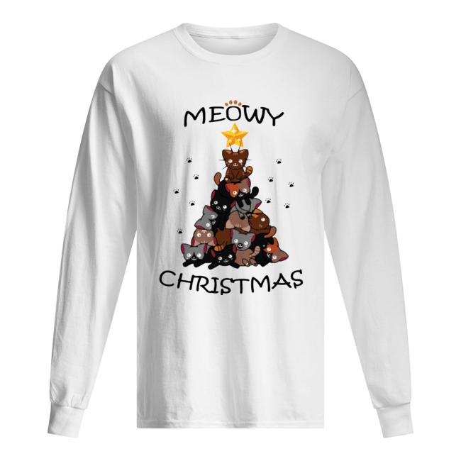 Meowy Christmas Tree Cute Merry Xmas  Long Sleeved T-shirt