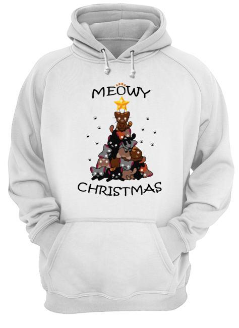 Meowy Christmas Tree Cute Merry Xmas  Unisex Hoodie