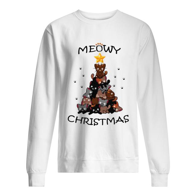 Meowy Christmas Tree Cute Merry Xmas  Unisex Sweatshirt