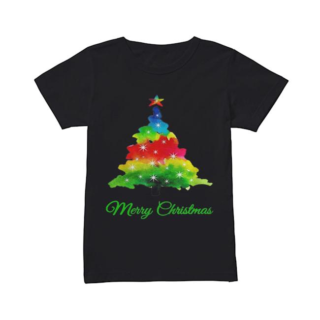 Merry Christmas Colorful Christmas Tree  Classic Women's T-shirt
