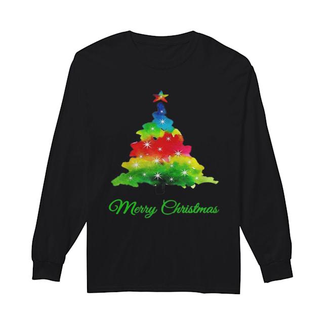 Merry Christmas Colorful Christmas Tree  Long Sleeved T-shirt