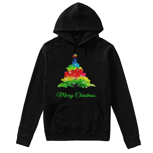 Merry Christmas Colorful Christmas Tree  Unisex Hoodie