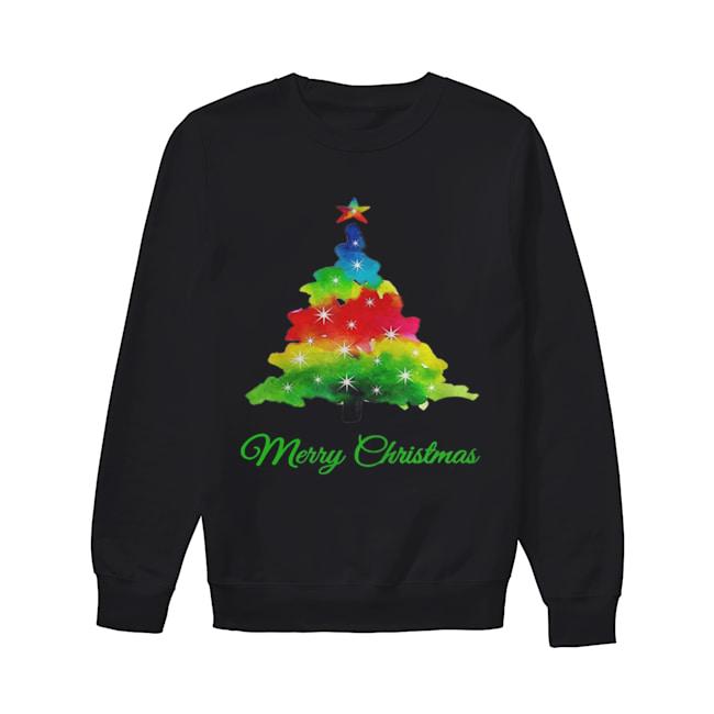 Merry Christmas Colorful Christmas Tree  Unisex Sweatshirt