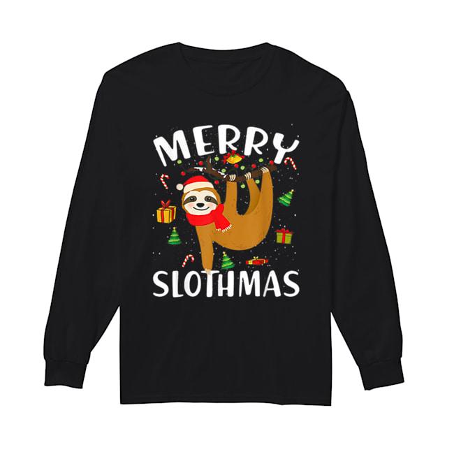 Merry Slothmas Christmas Pajama for Sloth Lovers  Long Sleeved T-shirt