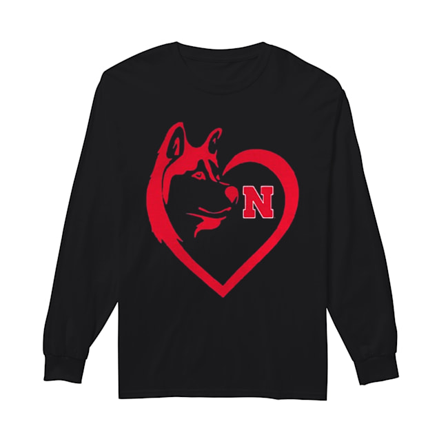 Nebraska Cornhuskers Dogs Husky Heart Team Game day  Long Sleeved T-shirt