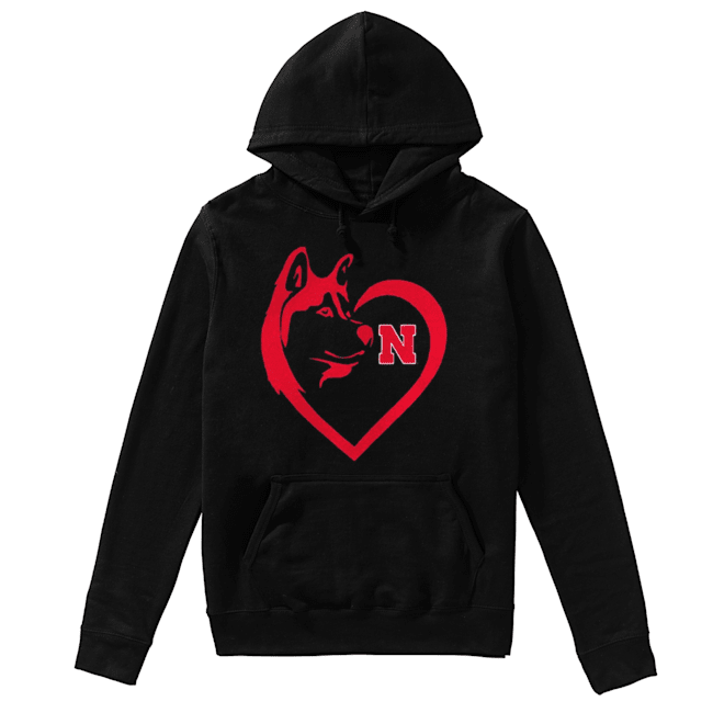 Nebraska Cornhuskers Dogs Husky Heart Team Game day  Unisex Hoodie