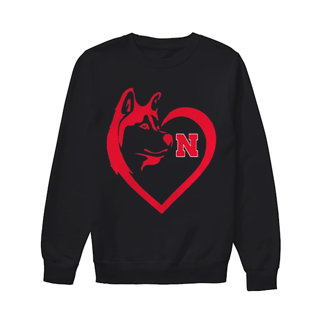 Nebraska Cornhuskers Dogs Husky Heart Team Game day  Unisex Sweatshirt