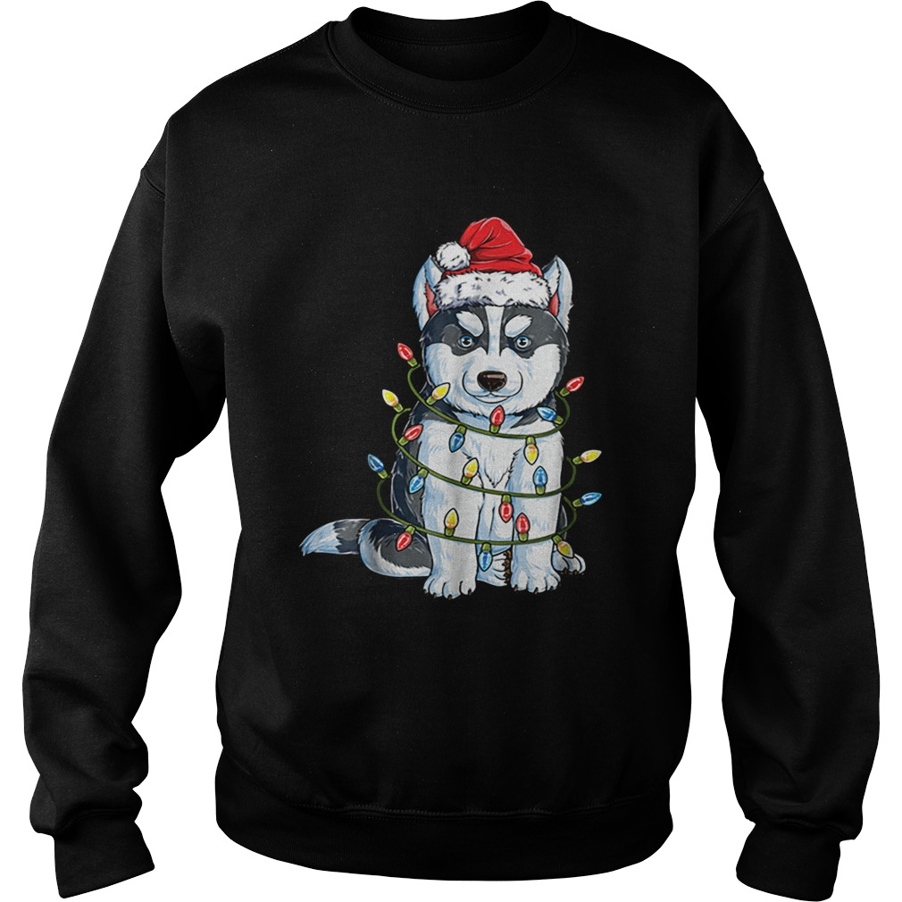 Nice Siberian Husky Christmas Santa Hat Xmas Lights Boys  Sweatshirt