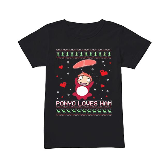 Ponyo loves ham ugly Christmas  Classic Women's T-shirt