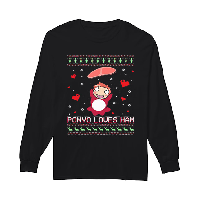 Ponyo loves ham ugly Christmas  Long Sleeved T-shirt
