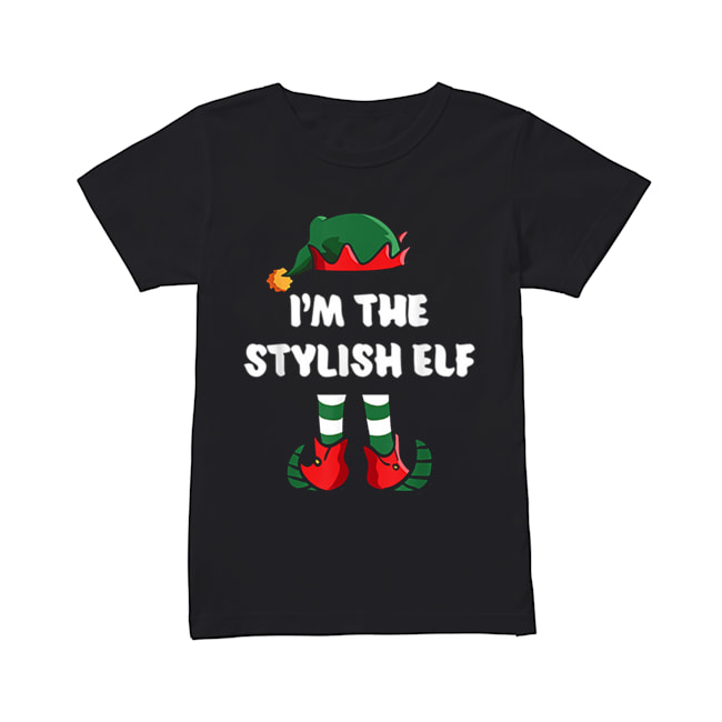 Pretty I'm The Stylish Elf Matching Family Group Funny Christmas  Classic Women's T-shirt