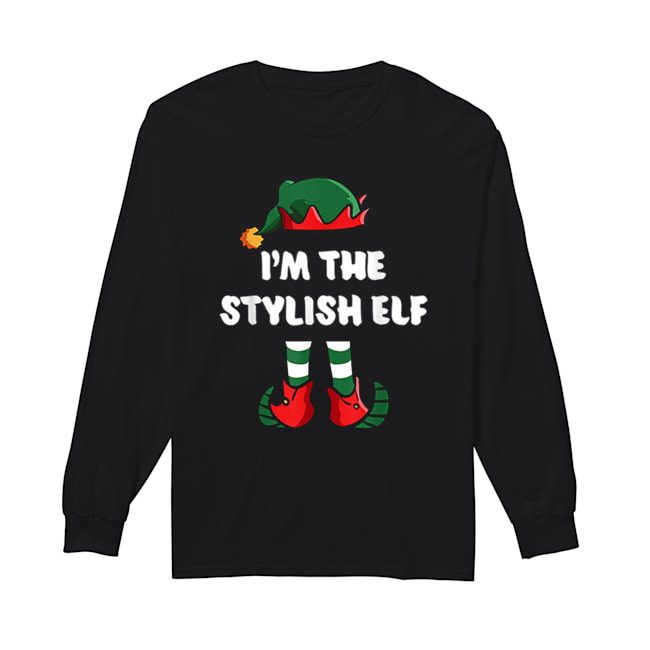 Pretty I'm The Stylish Elf Matching Family Group Funny Christmas  Long Sleeved T-shirt