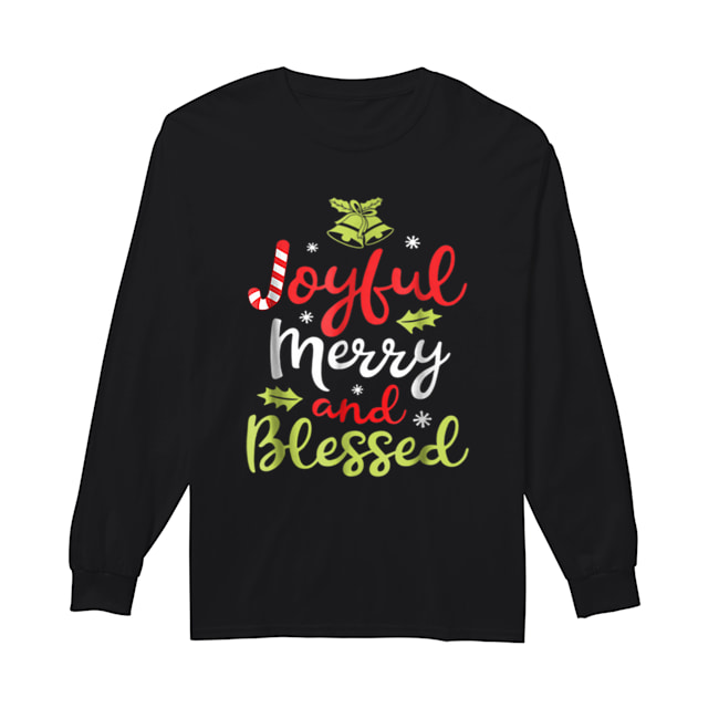 Pretty Joyful Merry and Blessed Women girls Xmas Holiday  Long Sleeved T-shirt