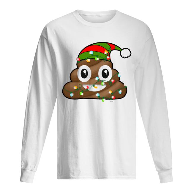 Reindeer Poop Emoji Cute Merry Christmas Red  Long Sleeved T-shirt