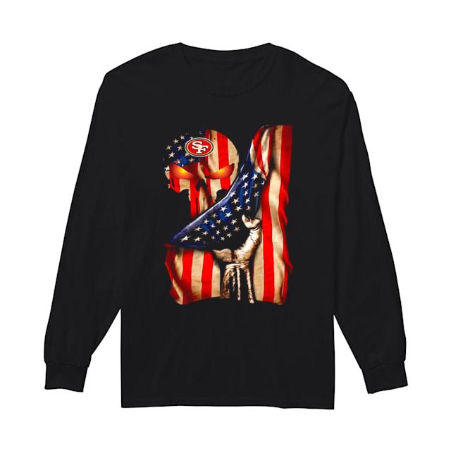 San Francisco 49ers Skull American Flag  Long Sleeved T-shirt
