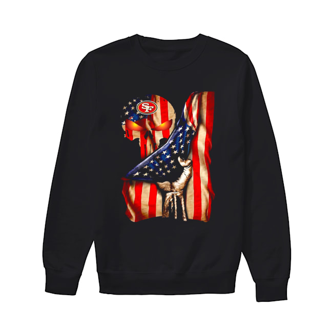 San Francisco 49ers Skull American Flag  Unisex Sweatshirt