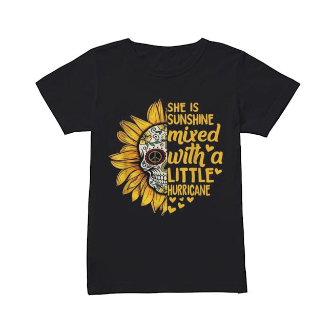Skull Sunflower she is sunshine mixed with a little hurricane  Classic Women's T-shirt