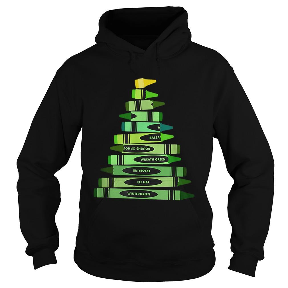 Teacher Christmas Gift Crayon Tree  Hoodie