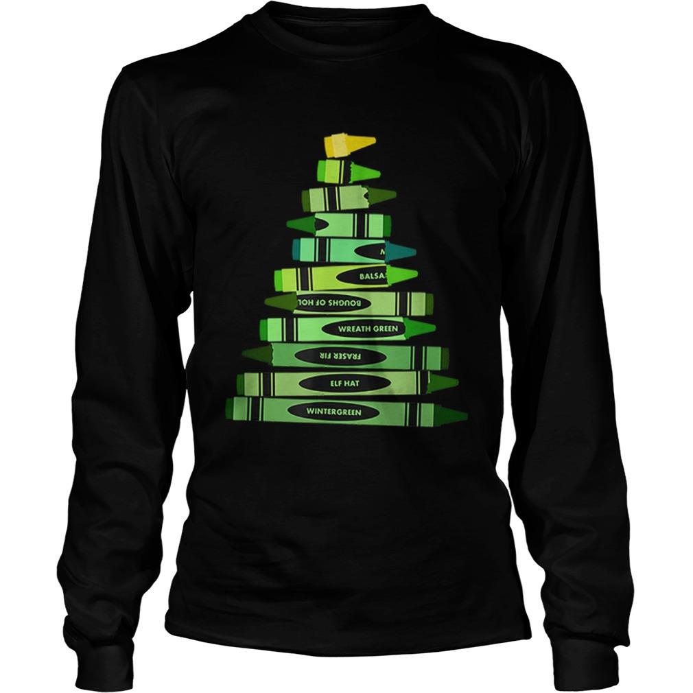 Teacher Christmas Gift Crayon Tree  LongSleeve