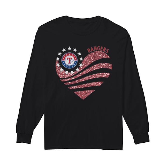 Texas Rangers Diamond Heart  Long Sleeved T-shirt