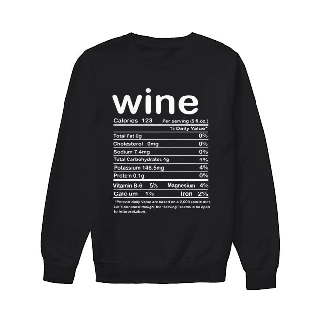 Thanksgiving Wine Nutritional Facts Funny Costume  Unisex Sweatshirt