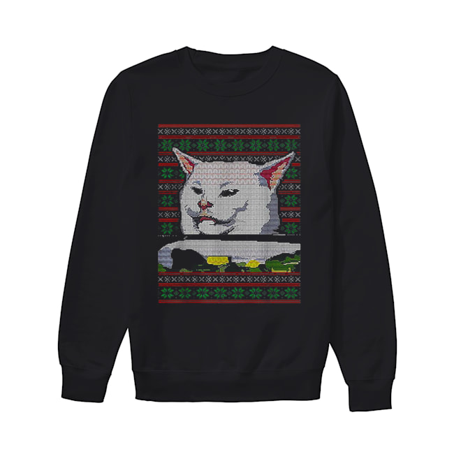 White cat ugly Christmas  Unisex Sweatshirt