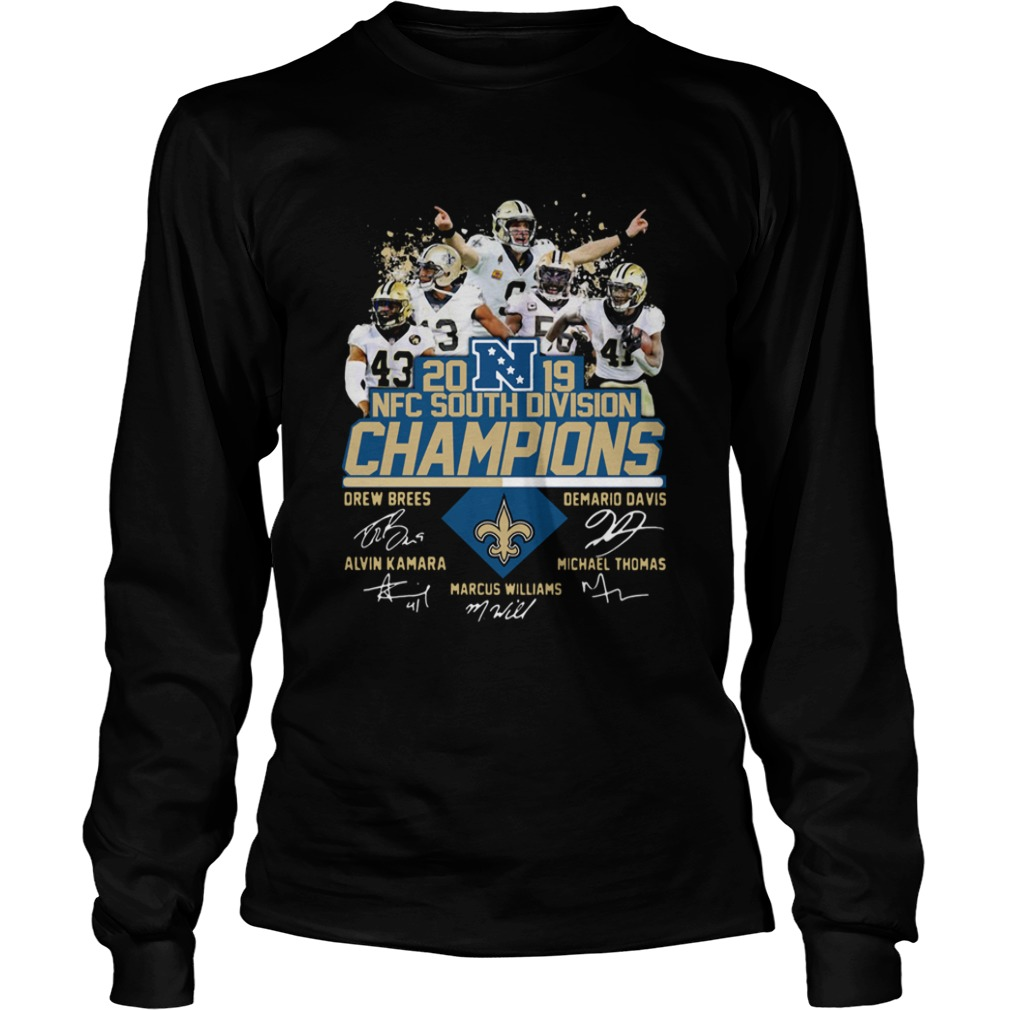 New Orleans Saints 2019 NFC South Division Champions players signature  LongSleeve