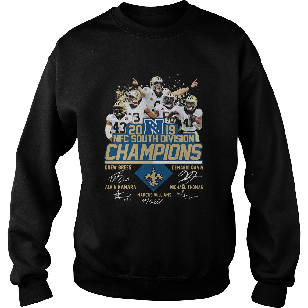 New Orleans Saints 2019 NFC South Division Champions players signature  Sweatshirt