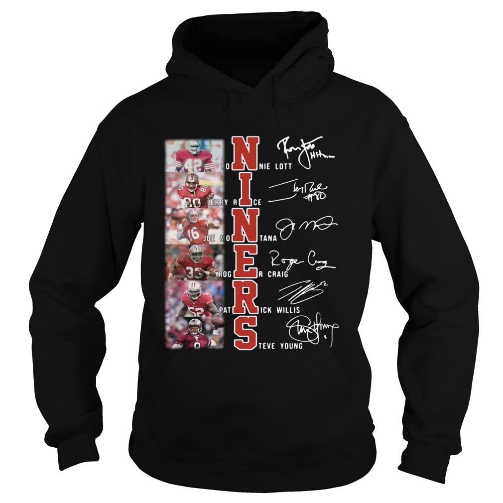 Niners Ronnie Lott Jerry Rice Joe Montana signatures  Hoodie
