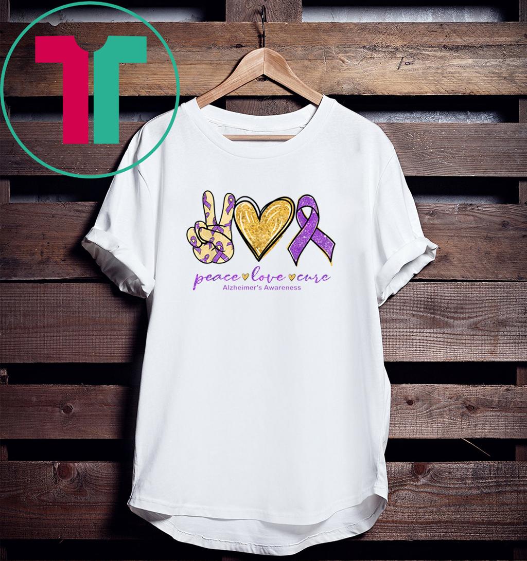 Peace Love Cure Purple Ribbon Alzheimer's Awareness 2020 Shirt