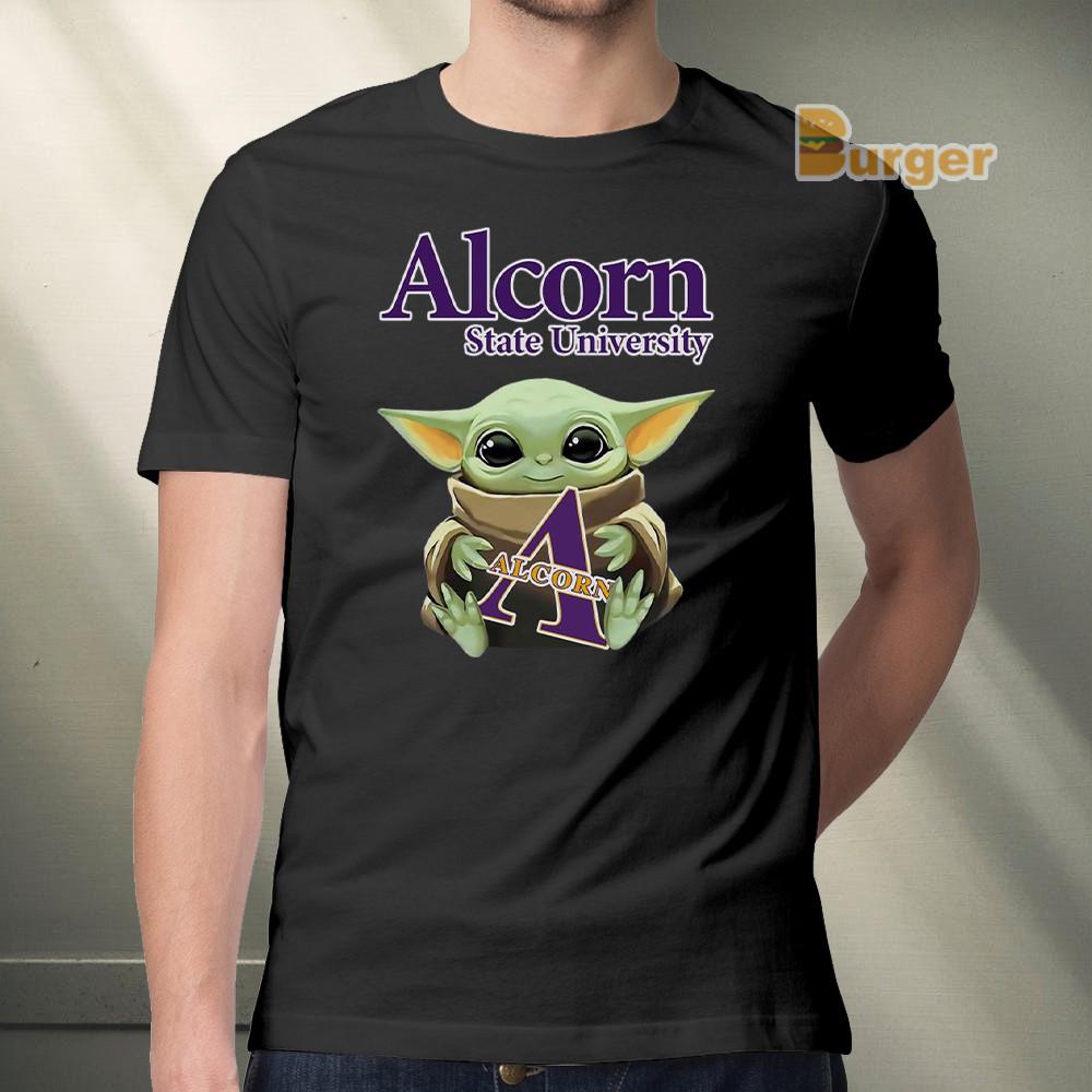 Baby Yoda Hug Alcorn State University Tee Shirt