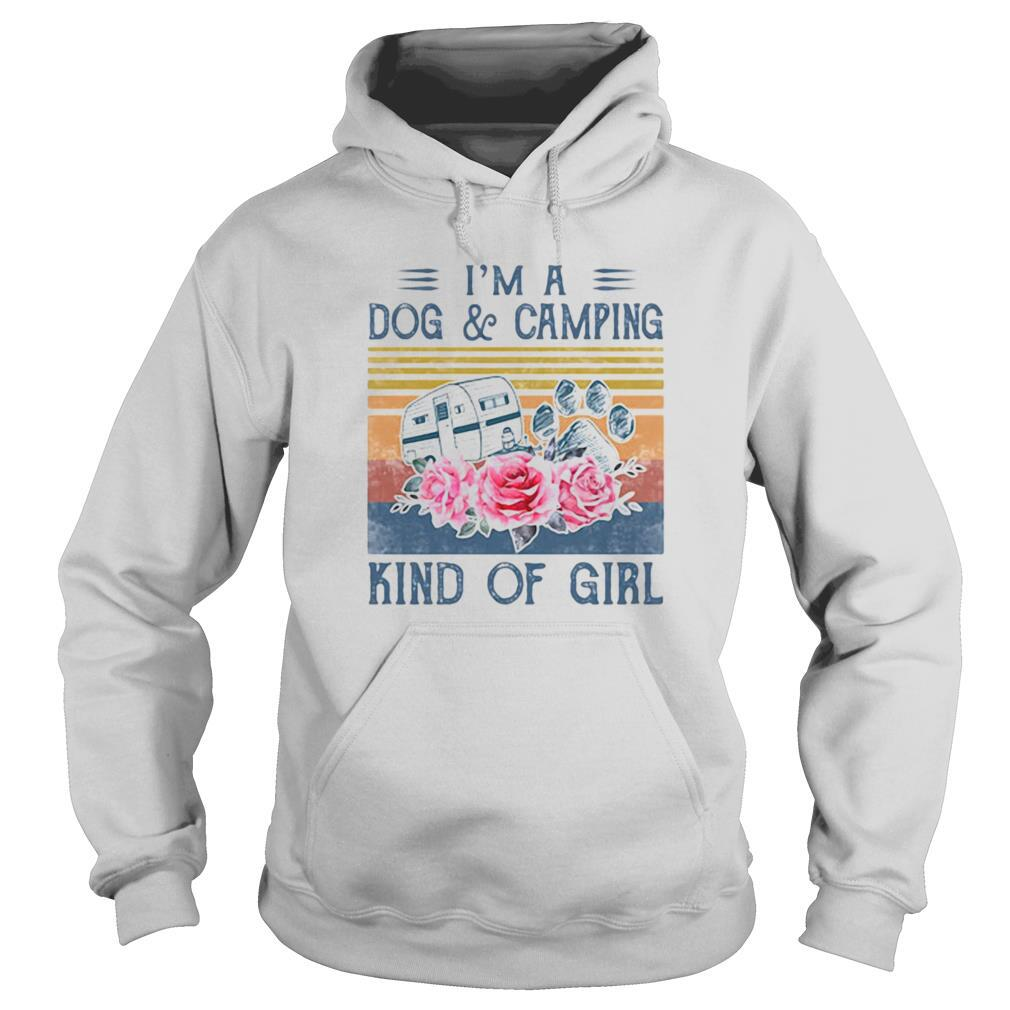 'm a paw dog and camping kind of girl flowers vintage retro shirt