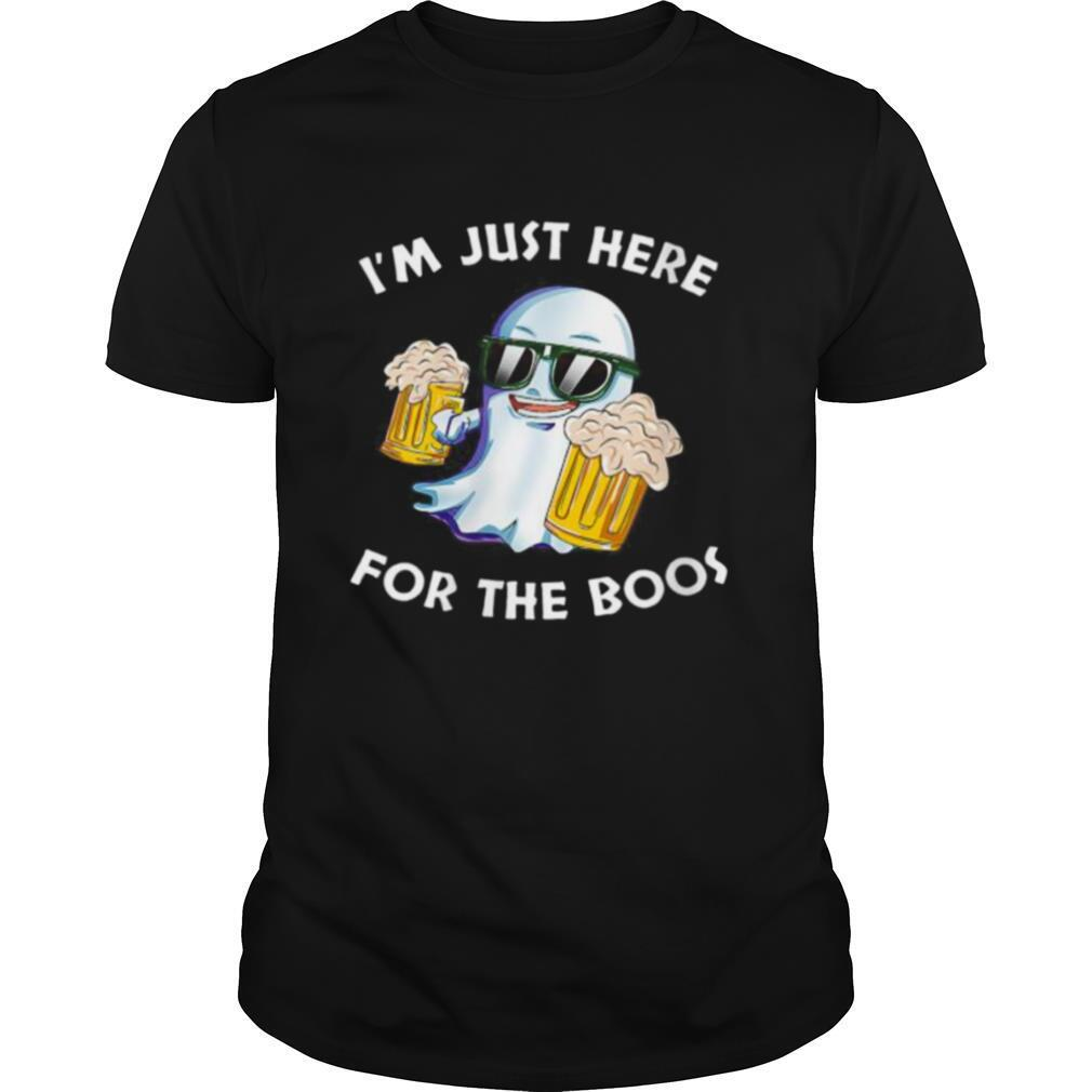 Wine Beer Ghost Halloween I'm Just Here For The Boos shirt