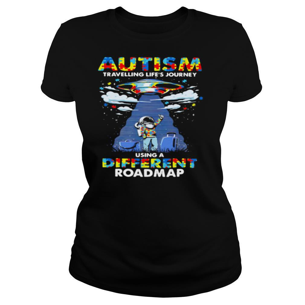 Autism Travelling Life's Journey Using A Diferent Roamap Ufo shirt