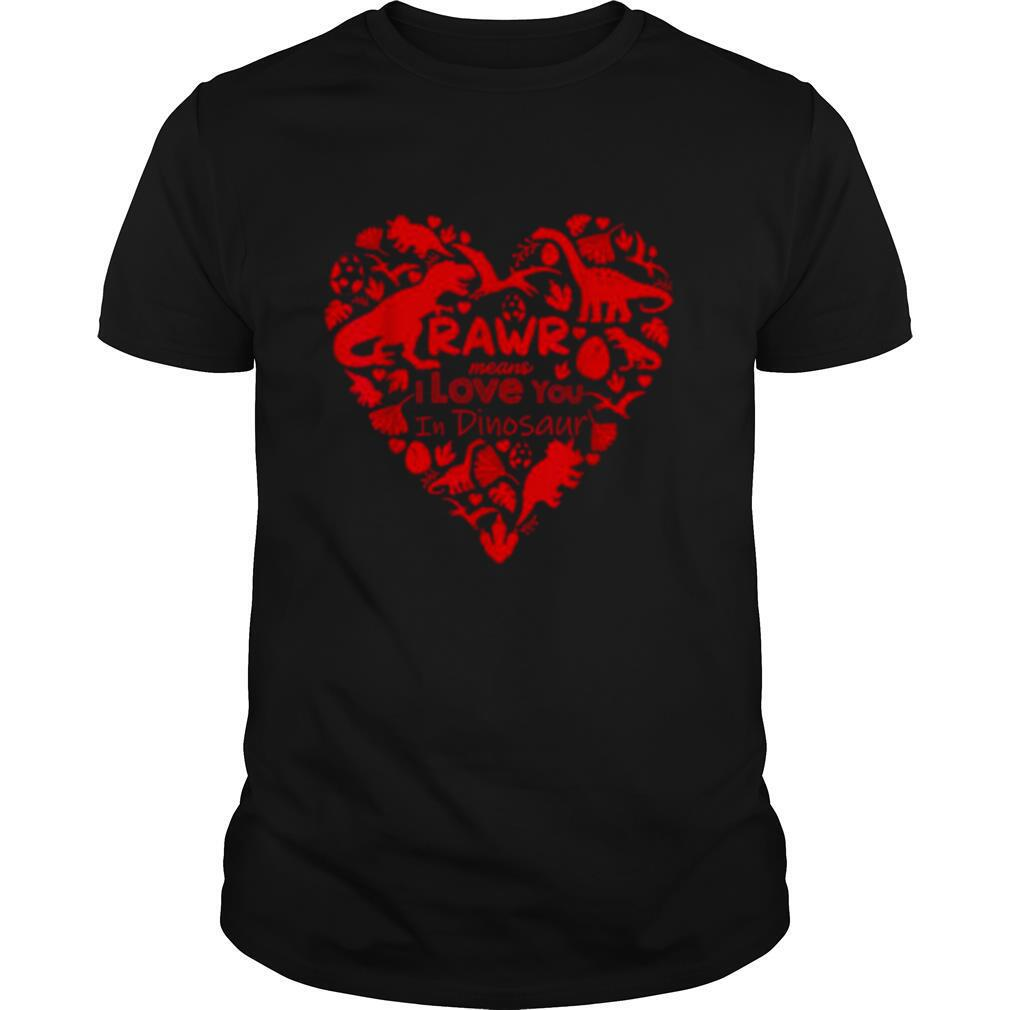 Dinosaur Valentine's Day Red Rawr Love shirt