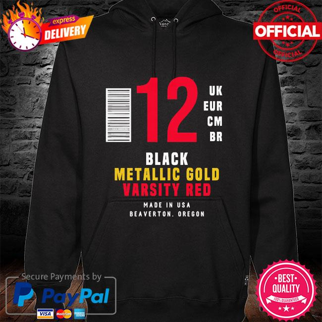 12 uk eur cm br black metallic gold varsity red hoodie black