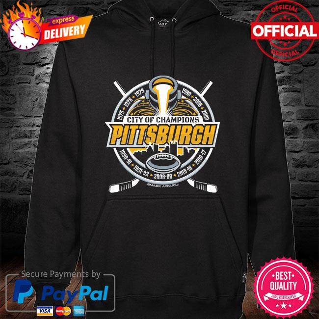 City of champions Pittsburgh football and hockey hoodie black