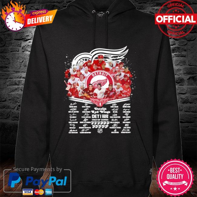 Detroit red wings nhl team player names signatures s hoodie black