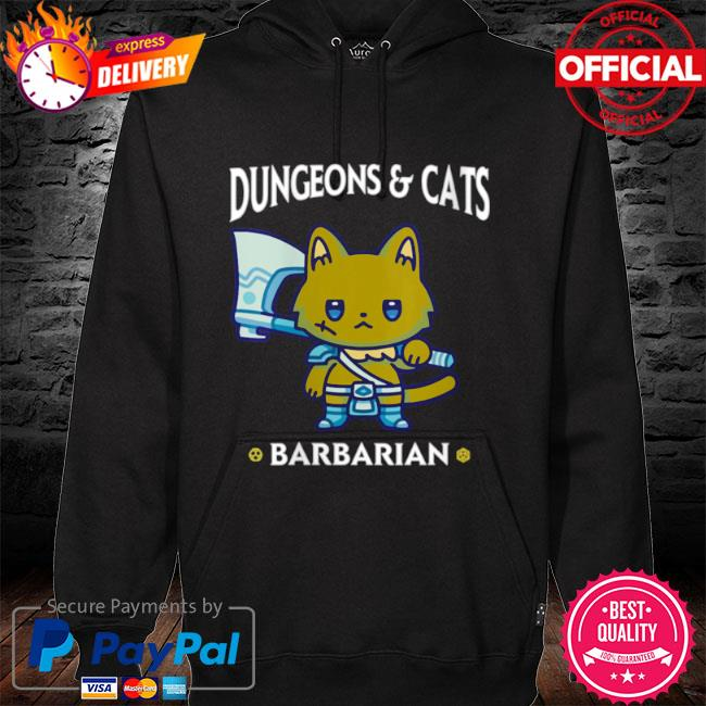 Dungeons and cats barbarian rpg d20 dice fantasy gamer cat s hoodie black