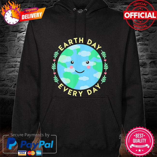 Earth day every day love the environment cute kawaii planet hoodie black