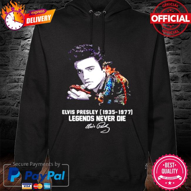 Elvis presley 1935 1977 legends never die signatures s hoodie black