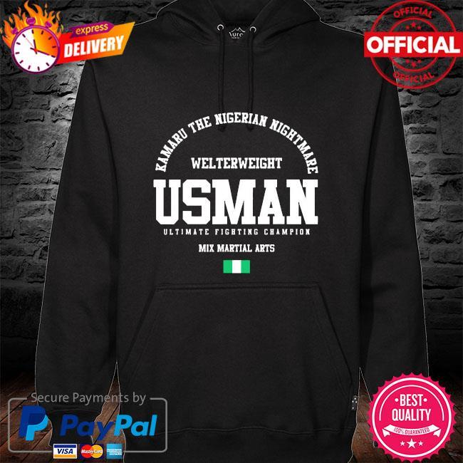 Kamaru the nigerian nightmare usman gym welterweight mix martial arts s hoodie black