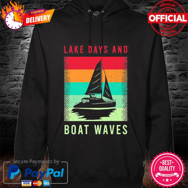 Lake days and boat waves vintage s hoodie black