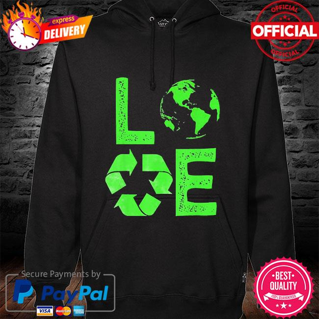 Love earth day 90s planet vintage recycling hoodie black